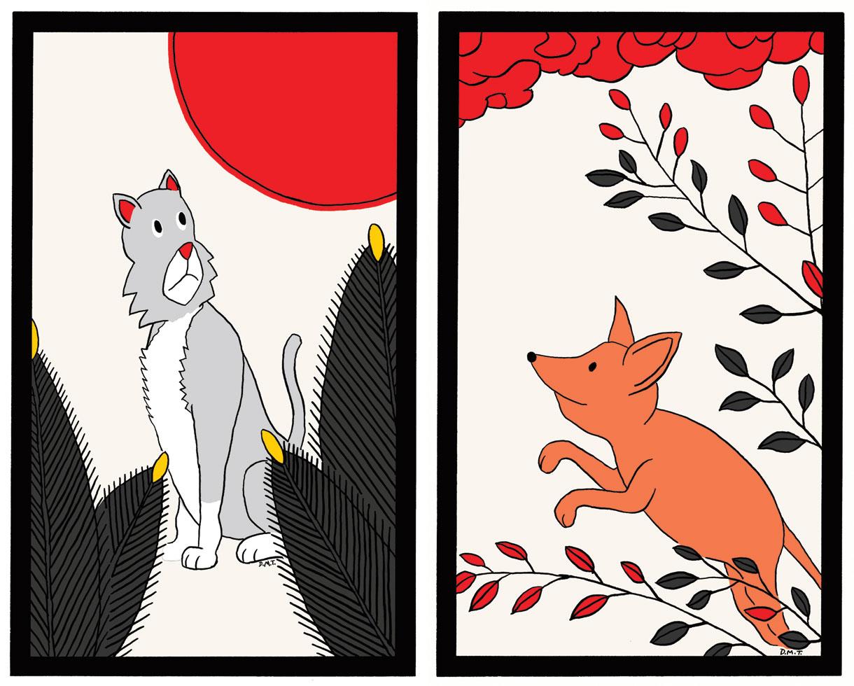 Hanafuda cards, based on my pets