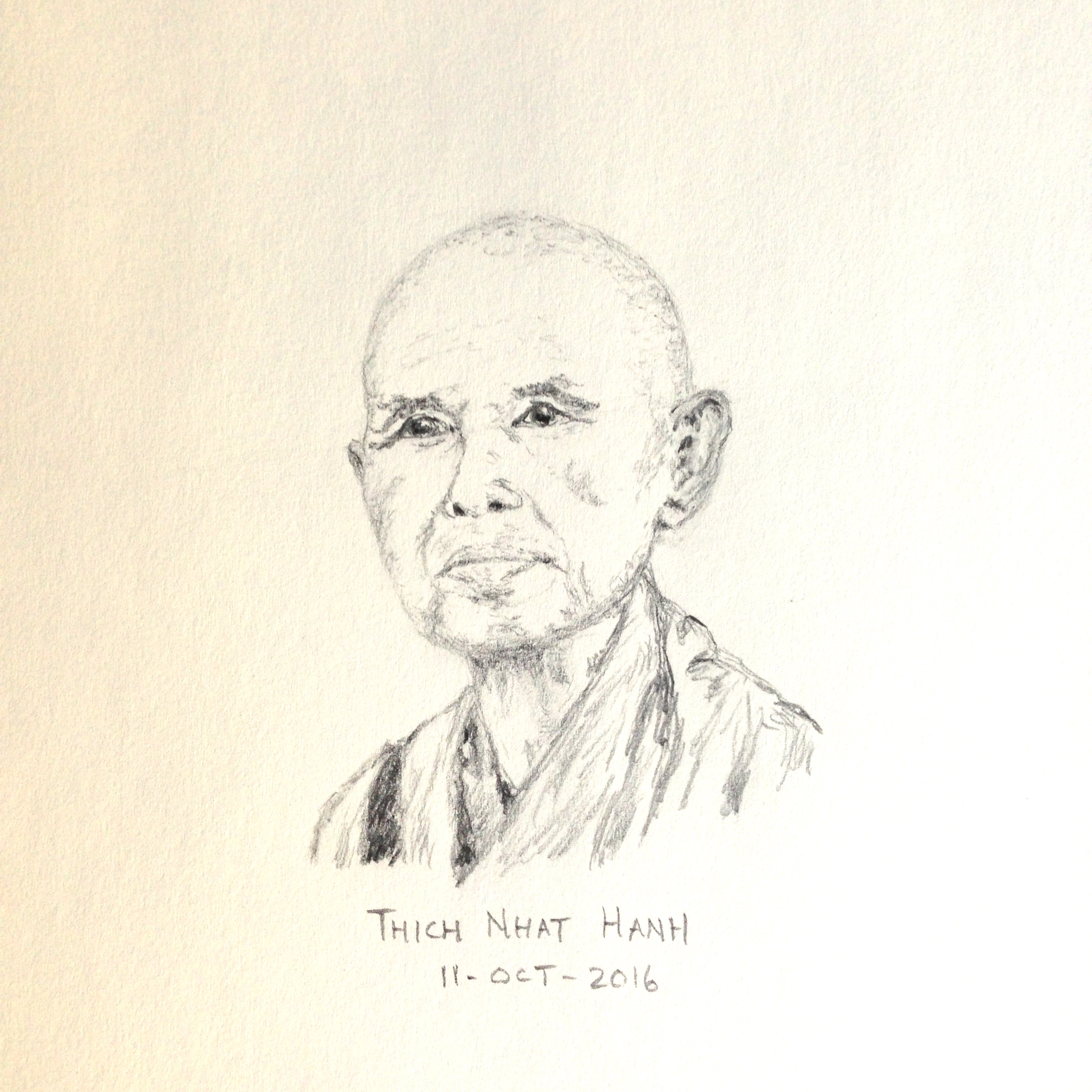 Pencil drawing of Thich Nhat Hanh