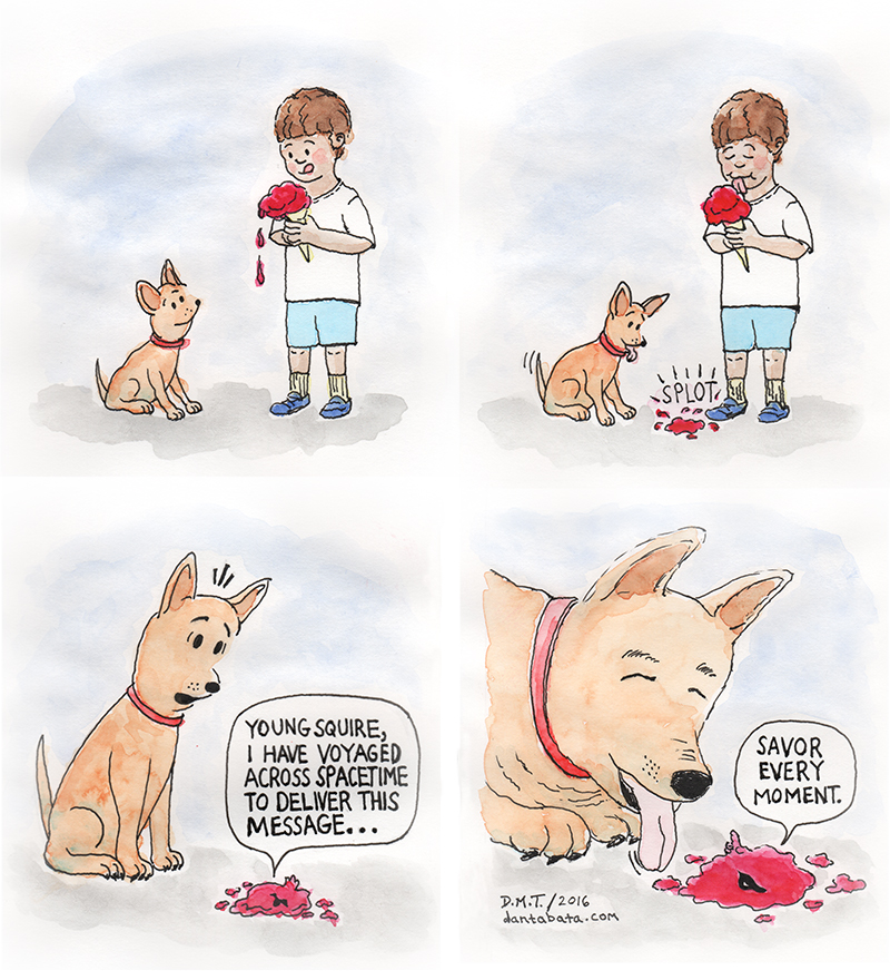 a comic featuring a boy, a dog and a spacetime-travelling ice cream