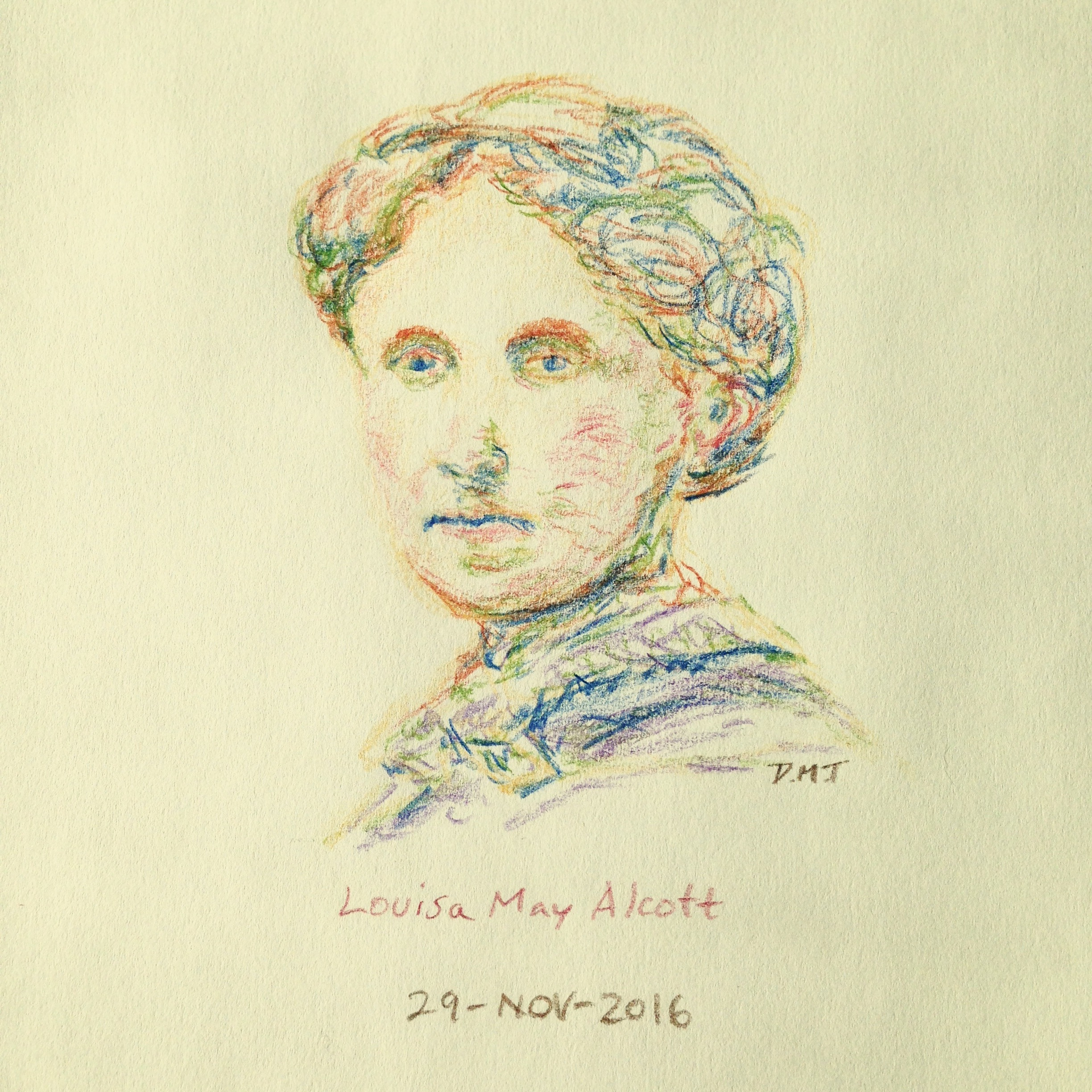colored pencil drawing of Louisa May Alcott