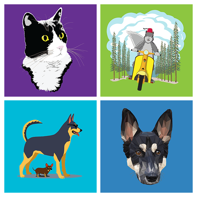 Four of Dan's Redbubble designs