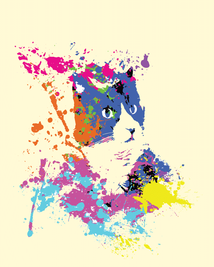 Rainbow paint splashes forming a cat head
