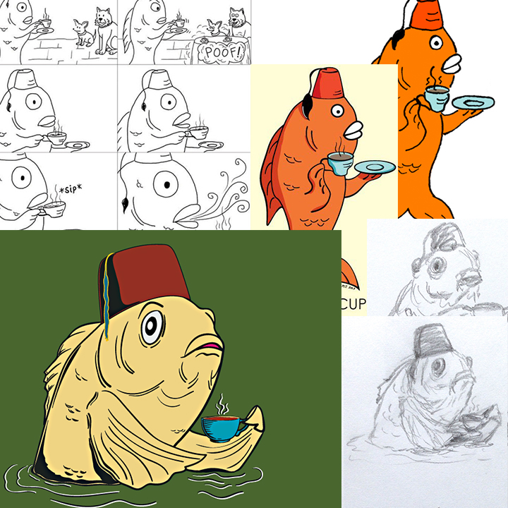 Collage showing the history of the fez fish