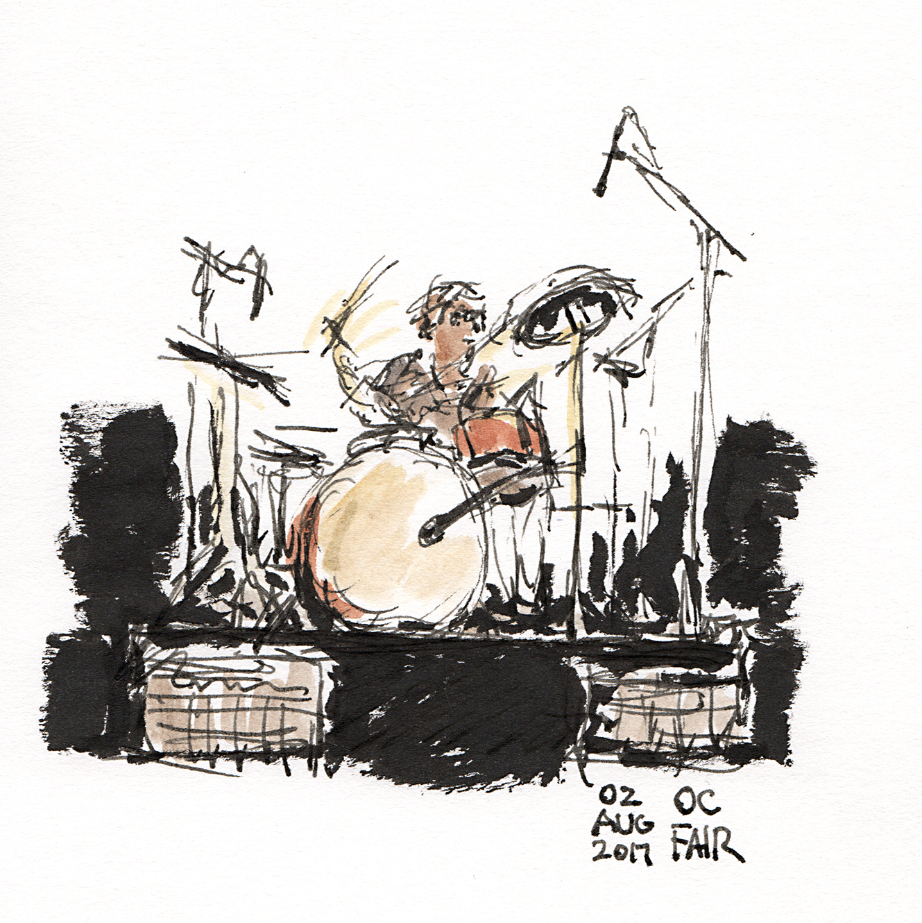 Drawing of John Borack playing drums at the Orange County Fair