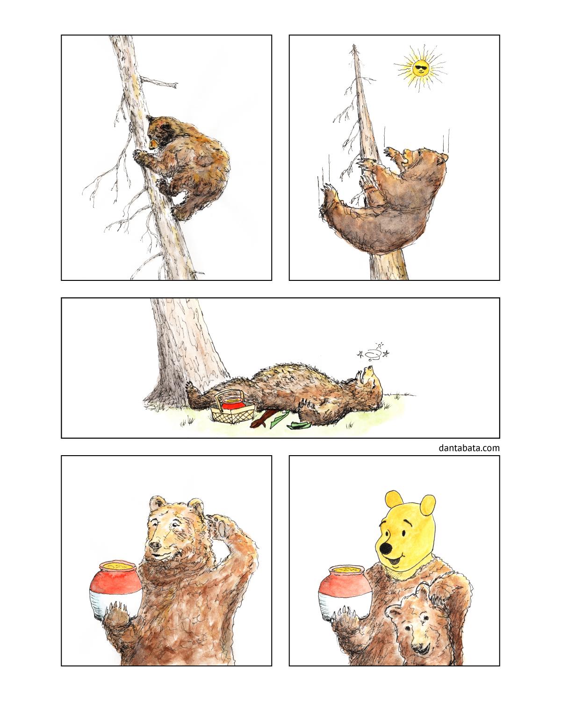 Comic about a bear, a tree, and a honey pot.