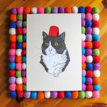 Fez Hat Cat 5x7 art print