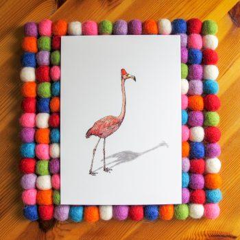 Fez Hat Flamingo 5x7 art print