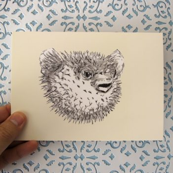 Pufferfish 5x7 art print