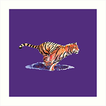 Redbubble art print of the tiger - purple