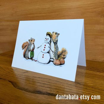 Winter Squirrels greeting card