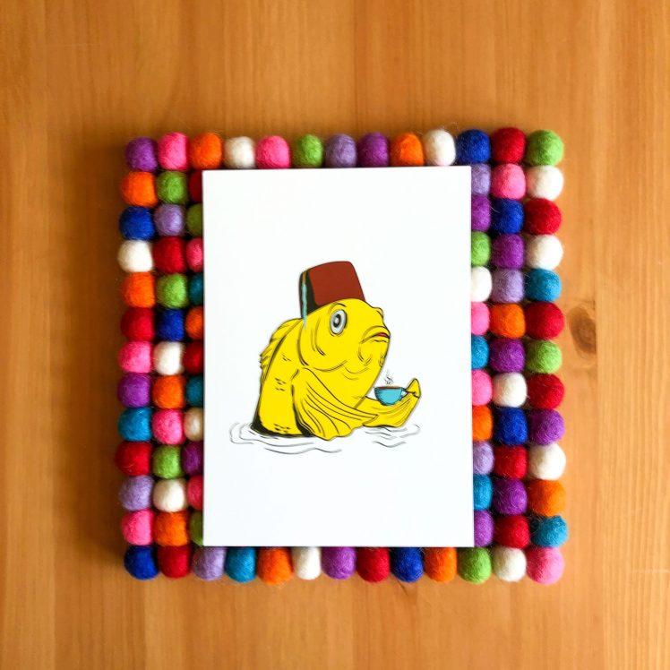 Fez Fish - bright white 5x7 print